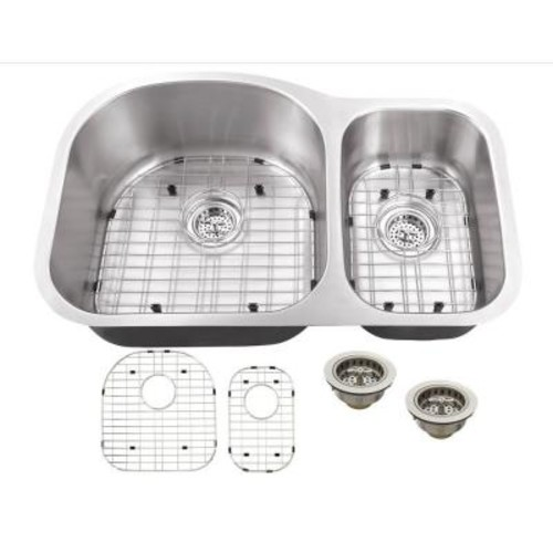 Schon All-in-One Undermount Stainless Steel 31.5 in. Double Bowl Kitchen Sink