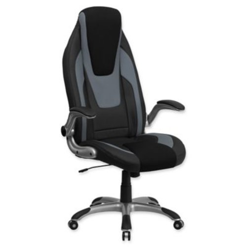 Flash Furniture Vinyl Office Arm Chair with Casters in Black/Grey