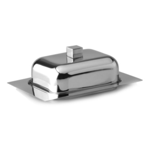 Studio Butter Dish W/ Acrylic Cover - Silver, Clear