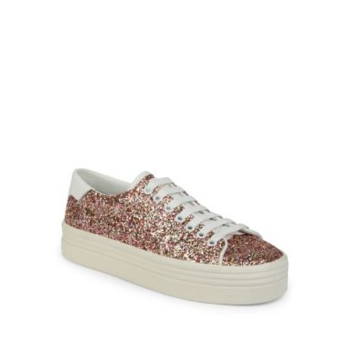 SAINT LAURENT Court Classic Glitter Platform Sneakers
