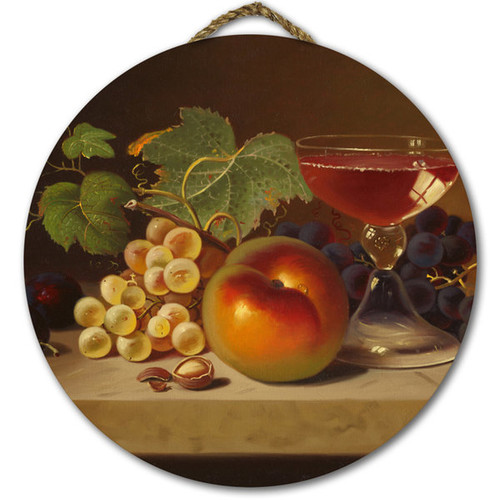 WGI Gallery 'Fruit and Cocktail' Multicolor Wood Round Wall Art