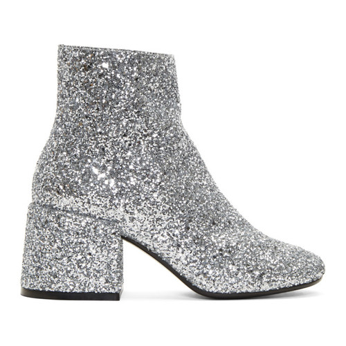 MM6 MAISON MARTIN MARGIELA Silver Glitter Block Heel Boots