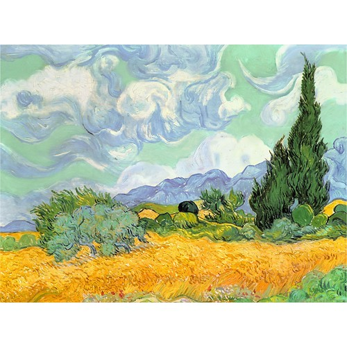 Trademark Art - Wheatfield with Cypresses by Vincent van Gogh - Blue/Yellow