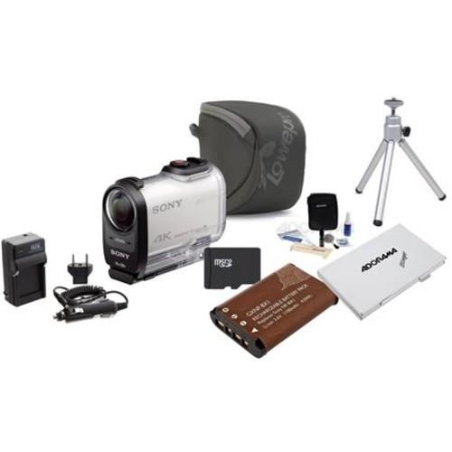 Sony FDR-X1000V 4K Action Camera, White With Premi FDR-X1000V/W B