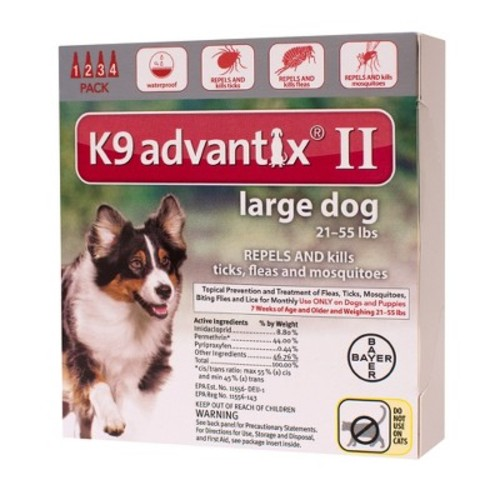 Advantix II for Dogs Between 21-55 lbs 4 Month Supply