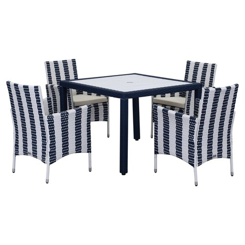 Outdoor Blake 5-Piece Set, Navy/White