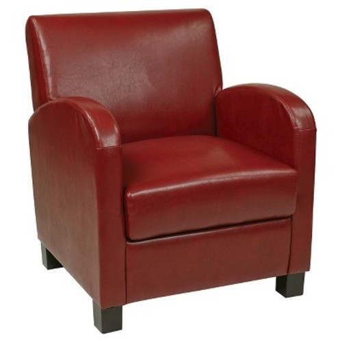 Eco Leather Club Chair Red/Espresso - Office Star