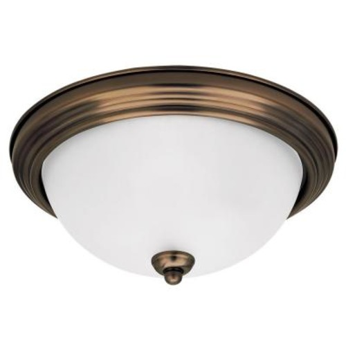 Sea Gull Lighting 1-Light Russet Bronze Ceiling Flushmount with Satin Etched Glass