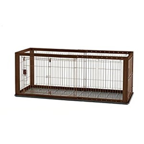Richell Expandable Pet Crate [Dark Brown, Small]
