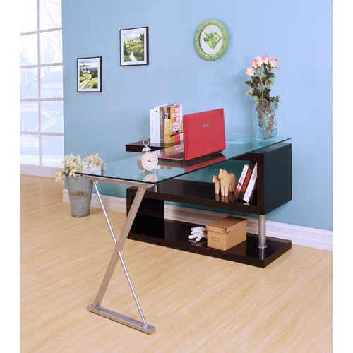 Acme Furniture Buck 2-Piece Clear Glass and Black Office Suite