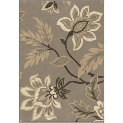 Floral Fairlyland Taupe 7 ft. 10 in. x 10 ft. 10 in. Indoor Area Rug