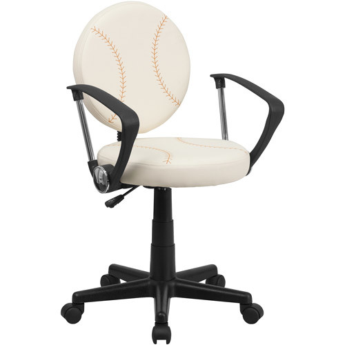 Flash Furniture Baseball Swivel Task Chair with Arms [Brown and Cream]