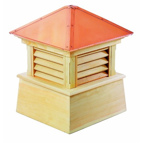 Good Directions Manchester Louvered Cupola with Pure Copper Roof, Cypress Wood, 30