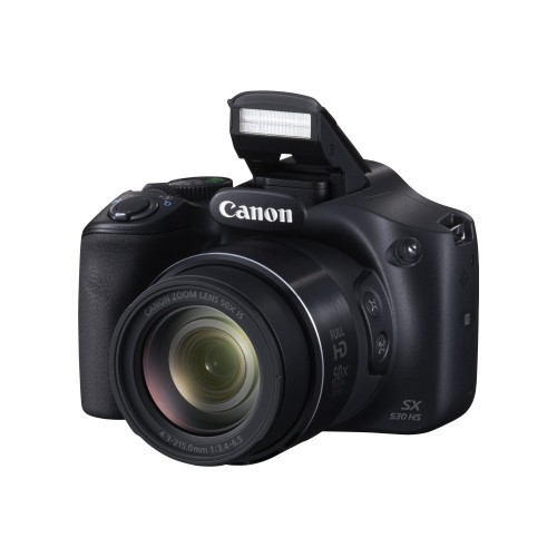 Canon PowerShot SX530 HS - Digital camera - compact - 16.0 MP - 1080p - 50x optical zoom - Wi-Fi, NFC - black (9779B001)