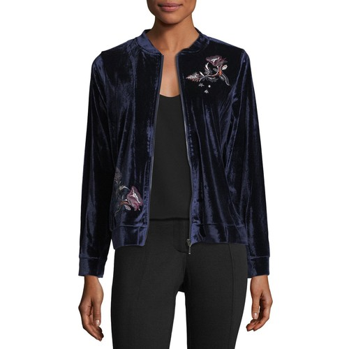 Neiman Marcus Embroidered Velvet Bomber Jacket