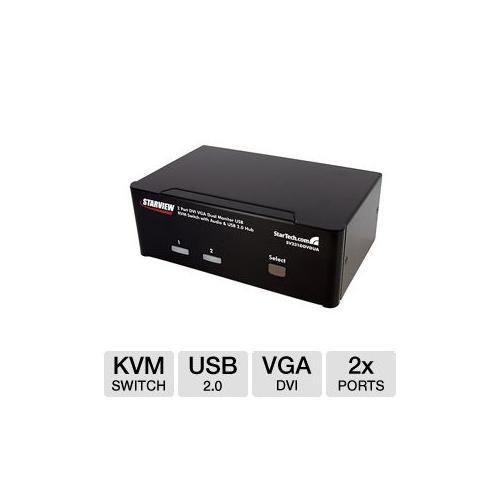 StarTech.com 2 Port DVI VGA Dual Monitor KVM Switch USB with Audio & USB 2.0 Hub - Dual Monitor KVM Switch DVI and VGA [2 Port, DVI + VGA - Dual Monitor]