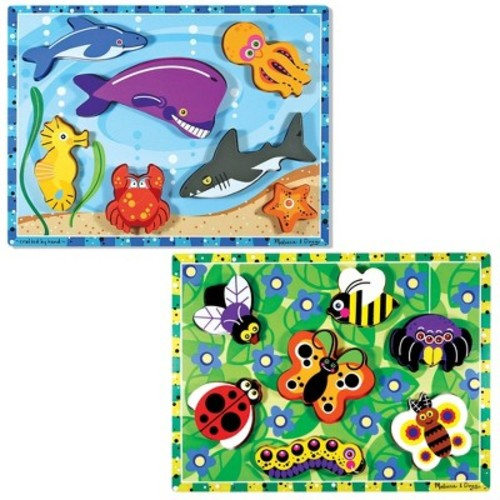 Melissa & Doug Wooden Chunky Puzzles Set - Ocean Animals and Insects