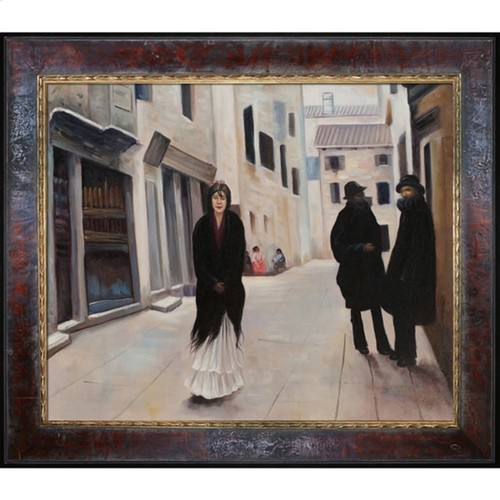 John Singer Sargent 'Street in Venice' Hand Painted Framed Canvas Art