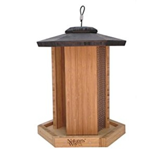 Nature's Way Bird Products BWF14 Bamboo Gazebo Triple Chamber Feeder, 18 by 12 by 12-Inch [Brown]