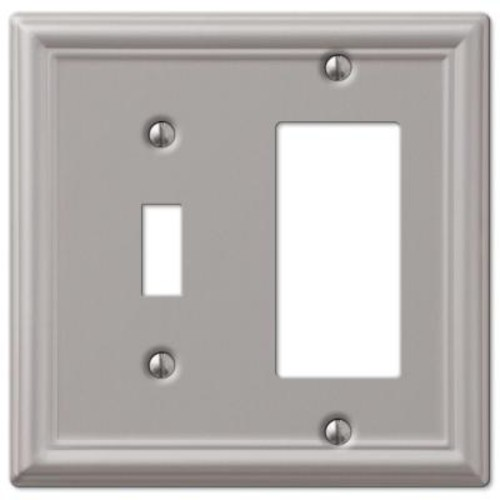 Hampton Bay Chelsea 1 Toggle and 1 Decora Wall Plate - Nickel