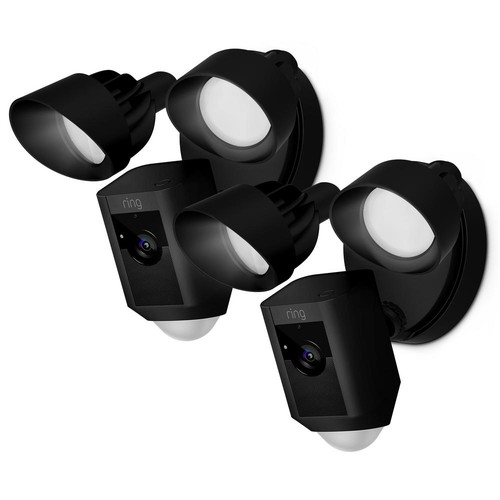 Ring Outdoor Wi-Fi Cam with Motion Activated Floodlight, Black (2-Pack)