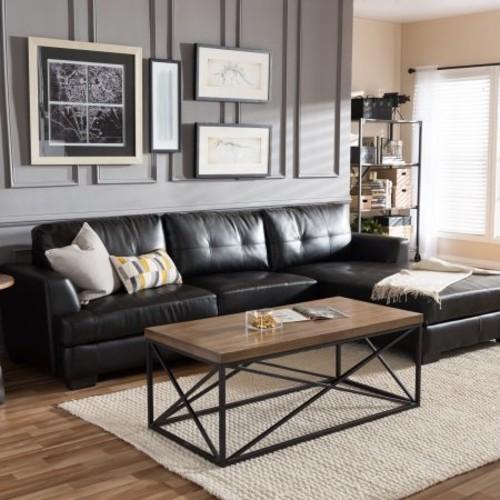 Baxton Studio Dobson Black Leather Modern Sectional Sofa
