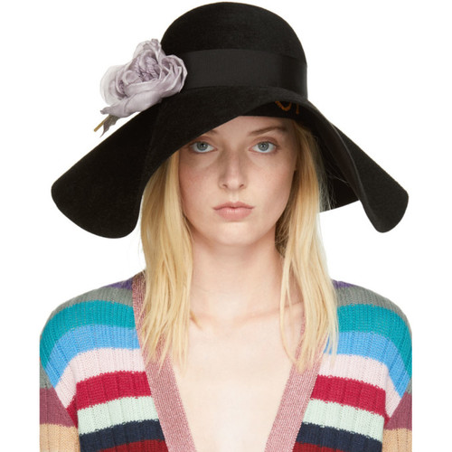 GUCCI Black Felt Flower Hat