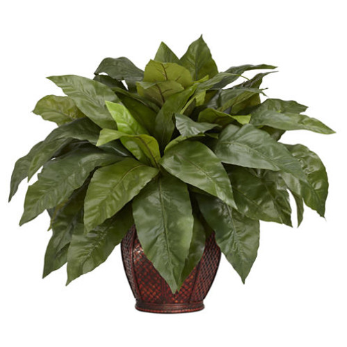 Nearly Natural Birds Nest Fern Silk Plant with Vase