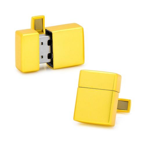 Yellow 8GB USB Flash Drive Cufflinks