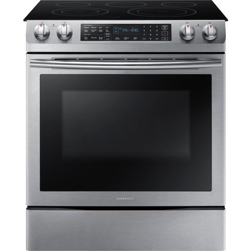 Samsung - 5.8 Cu. Ft. Electric Self-Cleaning Slide-In Range with Convection - Stainless steel