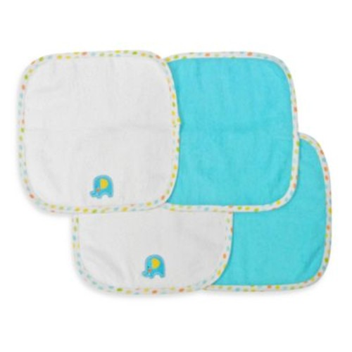 Neat Solutions 4-Pack Washcloth Set in Turquoise Elephant