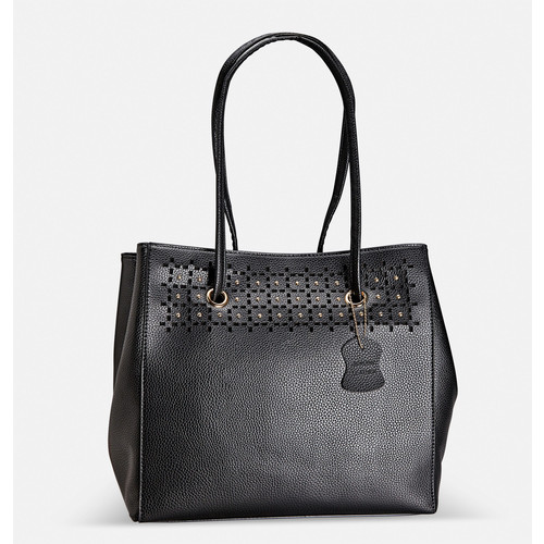 Fold-in Stud Cutout Leather Tote