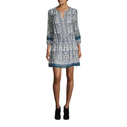JOIE Galene Geometric Border Print Silk Dress