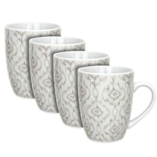 Dena Home Jaida Bone Mugs in White (Set of 4)