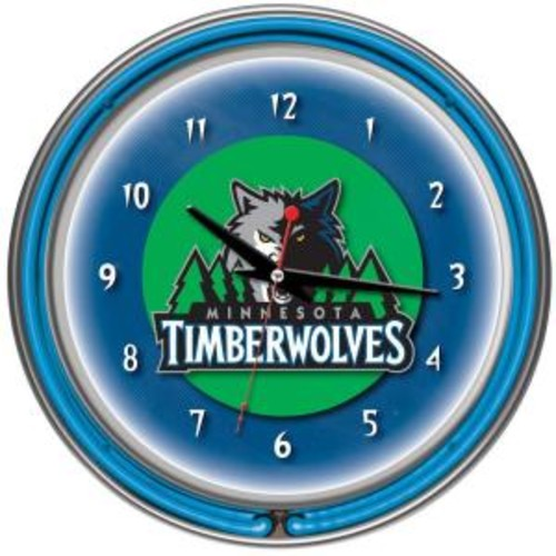 Trademark Global 14 in. Minnesota Timberwolves NBA Chrome Double Ring Neon Wall Clock