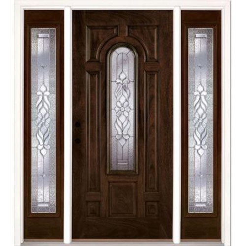 Feather River Doors 67.5 in. x 81.625 in. Lakewood Zinc Stained Chestnut Mahogany Right-Hand Fiberglass Prehung Front Door with Sidelites