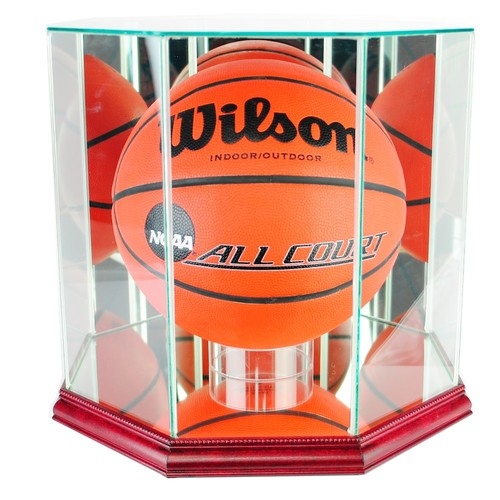 Octagon Basketball Display Case with Cherry Finish