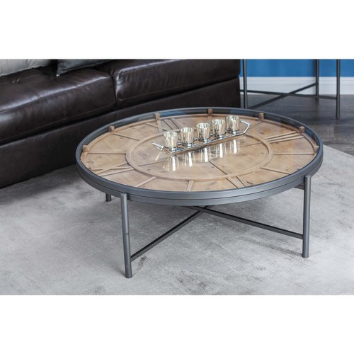 Stained Brown Clock Coffee Table