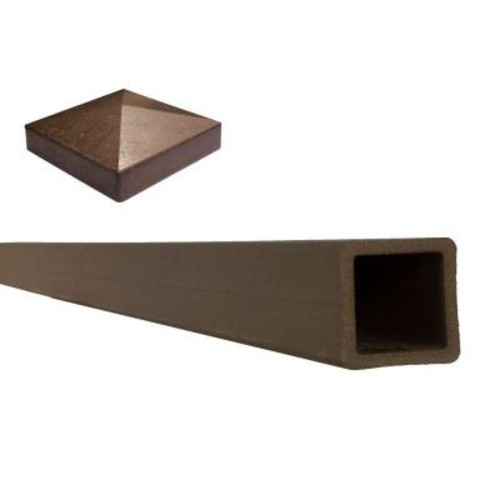 Trex Seclusions 5 in. x 5 in. x 8 ft. Woodland Brown Wood-Plastic Composite Fence Post with Crown Post Cap