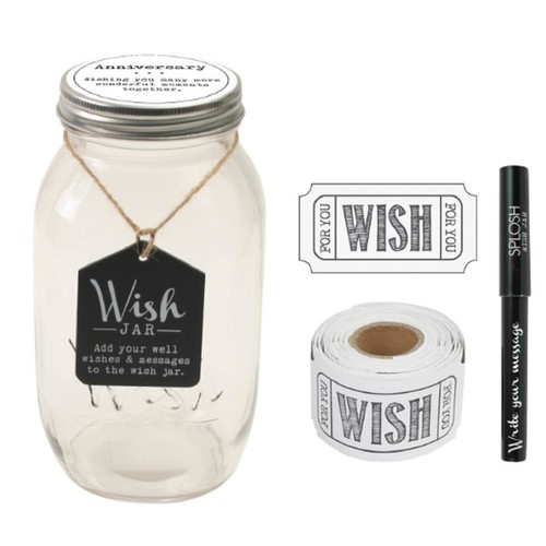 Stonebriar Collection 4.5 in. x 8 in. Anniversary Wish Jar