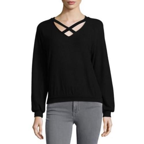 Crisscross V-Neck Sweatshirt