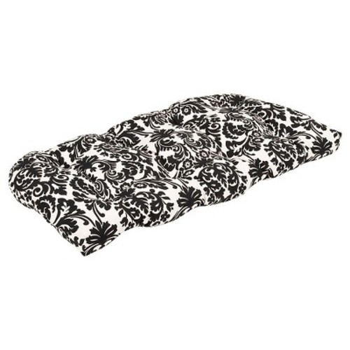 Outdoor Bench/Loveseat/Swing Cushion - Black/White Floral