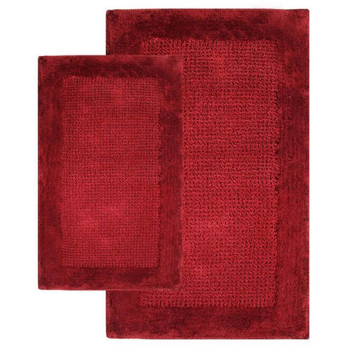 Chesapeake Merchandising 21 in. x 34 in. and 24 in. x 40 in. 2-Piece Naples Bath Rug Set in Wine