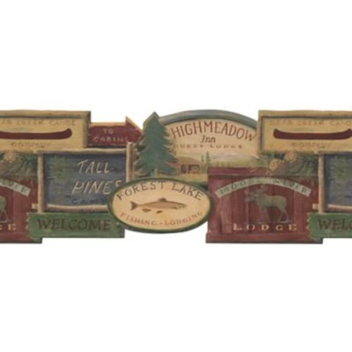 Inspired By Color Country & Lodge Rustic Lodge Signs Border, Brown