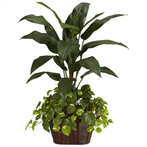 Nearly Natural 4' Bird of Paradise w, Vase and Pothos Silk Plant in Green
