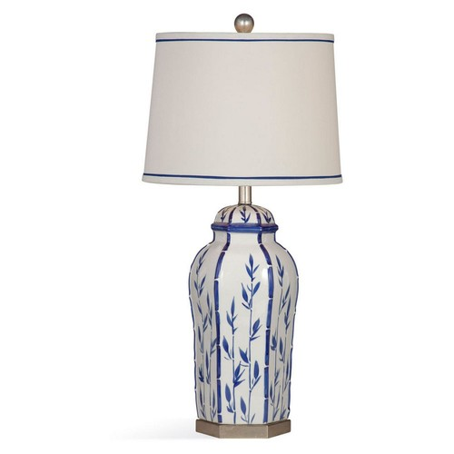 Bamboo Vase Table Lamp, Blue/White