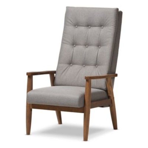 Baxton Studio Roxy Lounge Chair in Grey