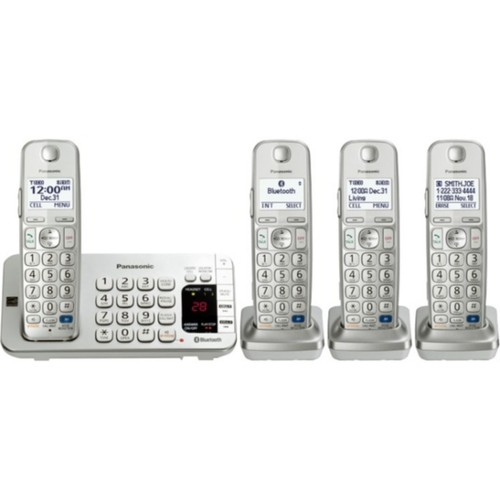 Panasonic KX-TGE274S Link2Cell Bluetooth Enabled Phone With 3 Handsets; 3000 Name/Number