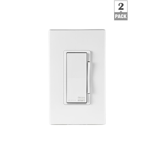 Leviton Decora Smart Wi-Fi 600-Watt Universal LED/Incandescent Dimmer and Works with Amazon Alexa and Google (2-Pack)