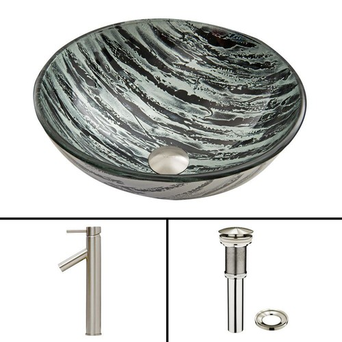 VIGO Glass Vessel Sink in Rising Moon and Dior Faucet Set in Brushed Nickel
